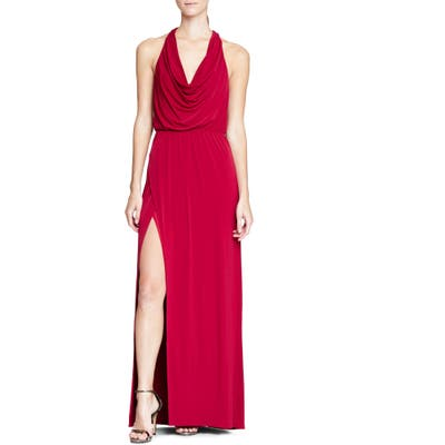 Halston Heritage Cowl Neck Gown, Red