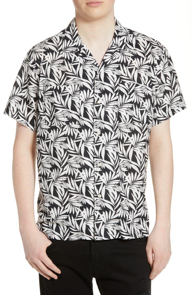 LIFE/AFTER/DENIM Oasis Regular Fit Camp Shirt, Main, color, BLACK