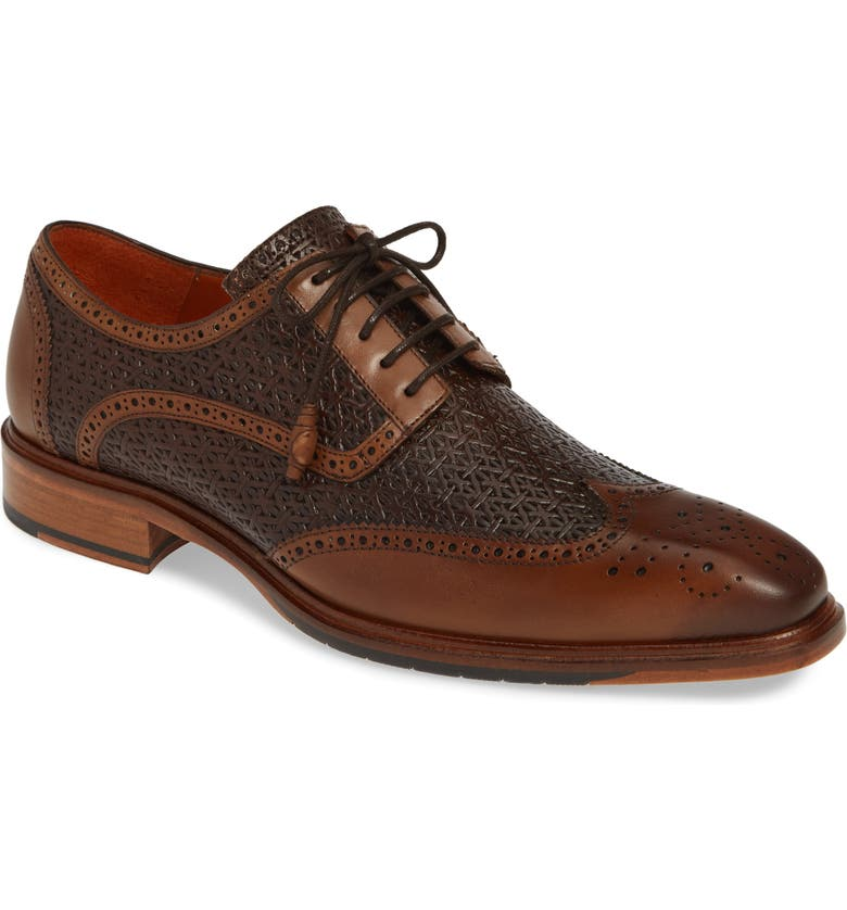 MEZLAN Haydn Embossed Wingtip Derby, Main, color, 239