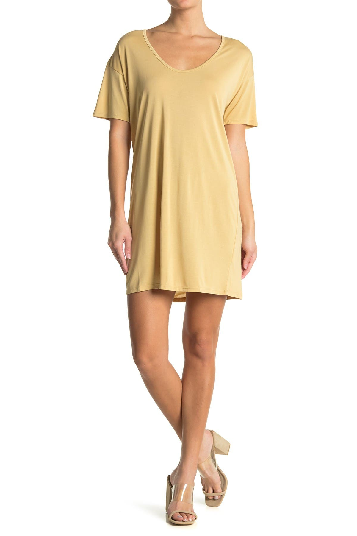 Image of Double Zero Short Sleeve Drop Shoulder T-Shirt Dress