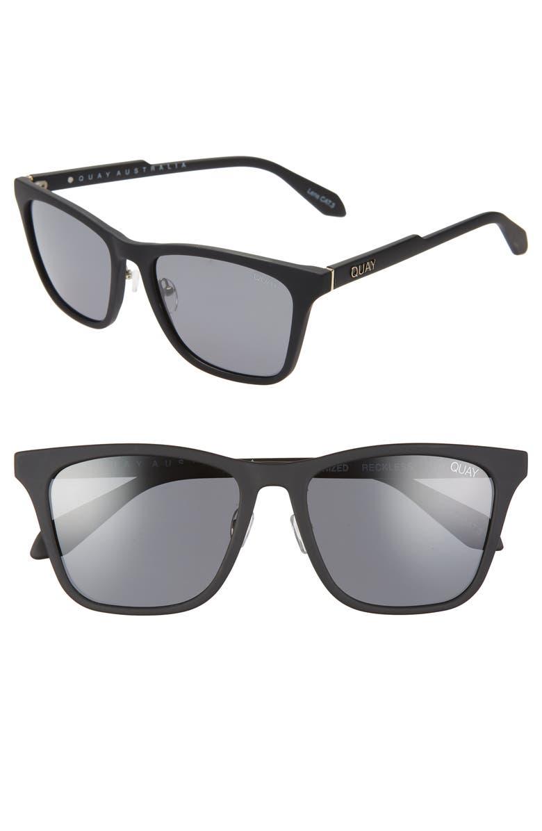 QUAY AUSTRALIA x AROD Reckless 56mm Square Sunglasses, Main, color, MATTEBLK/ SMK