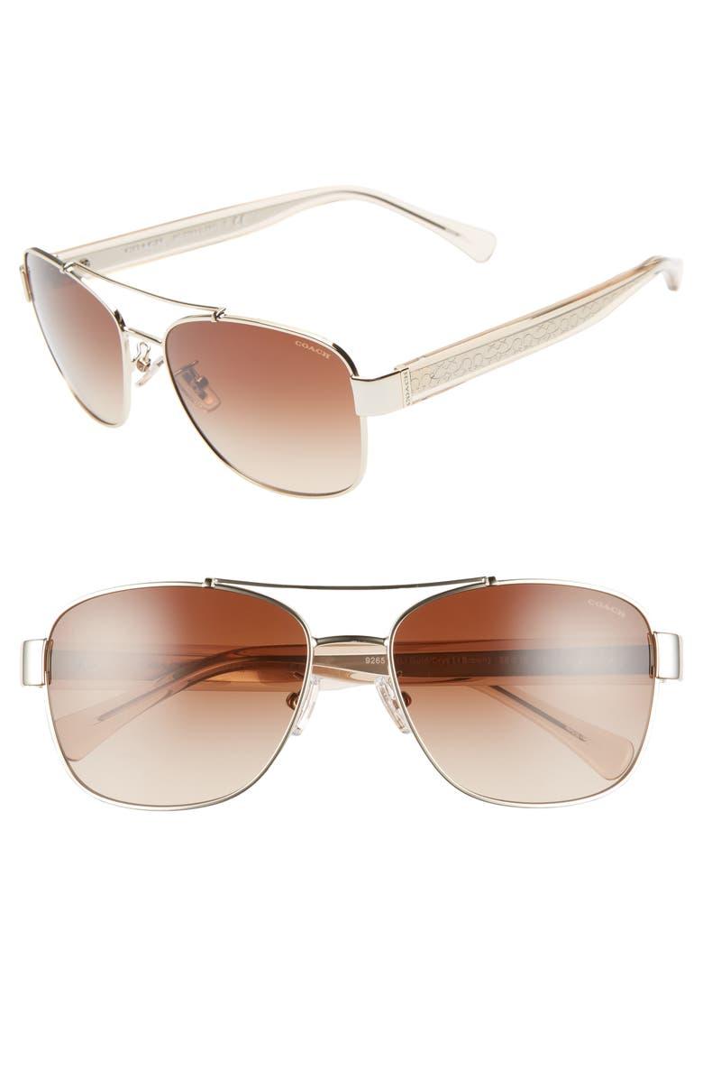 COACH 56mm Aviator Sunglasses, Main, color, 710