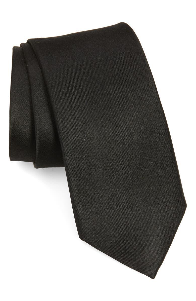 NORDSTROM MEN'S SHOP Solid Silk X-Long Tie, Main, color, BLACK