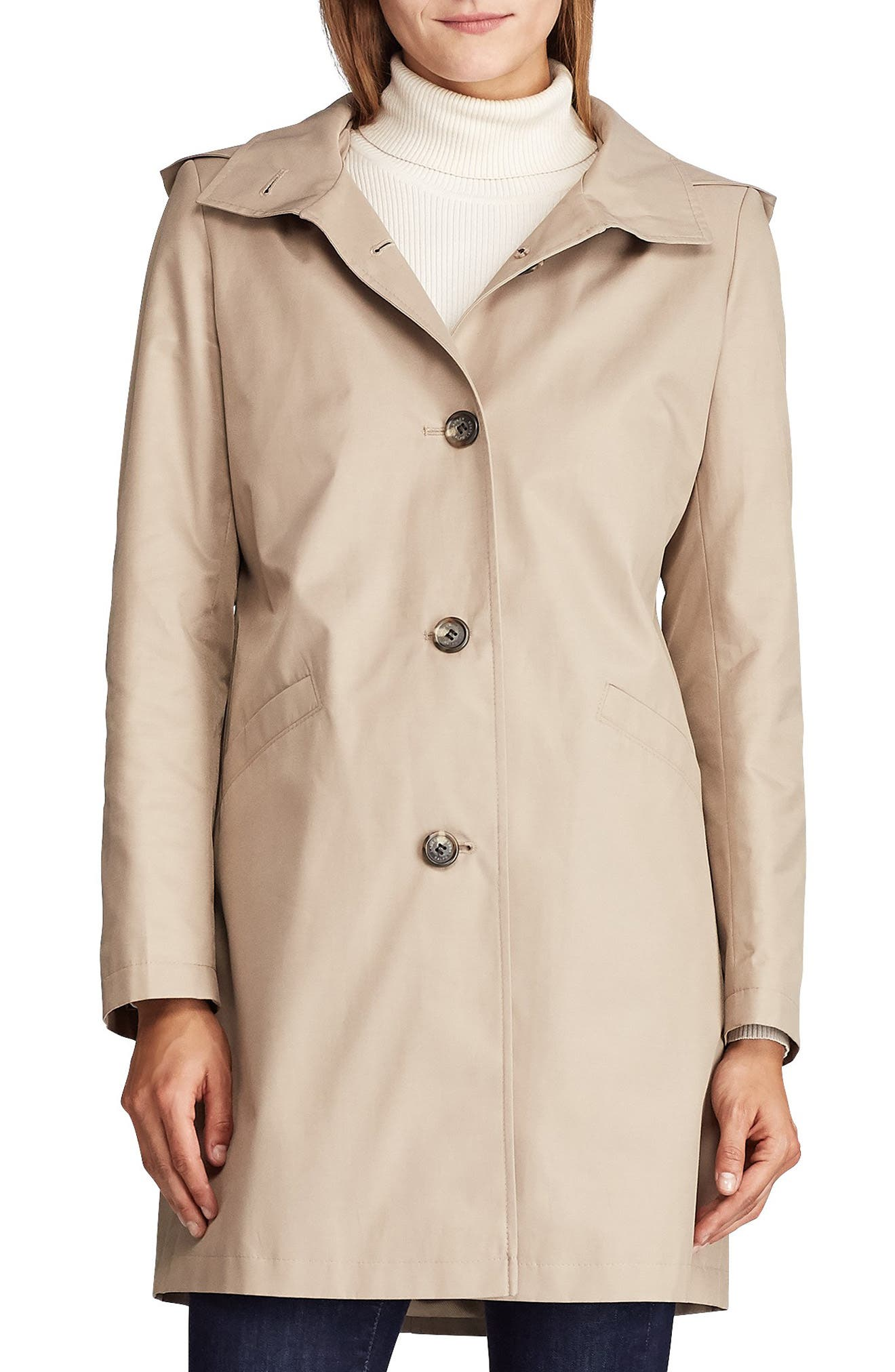 Lauren Ralph Lauren Hooded Water Repellent Trench Coat