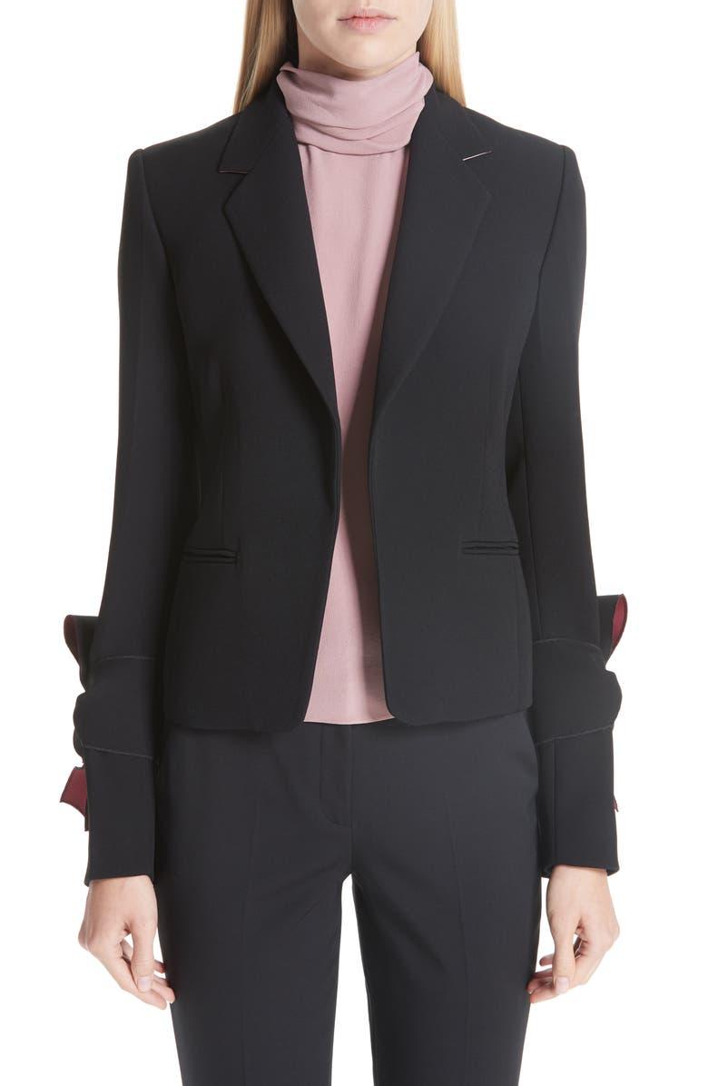 ROKSANDA Bow Sleeve Blazer, Main, color, 001