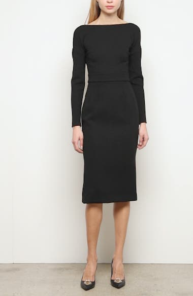 Bow Back Long Sleeve Wool Blend Crepe Dress, video thumbnail