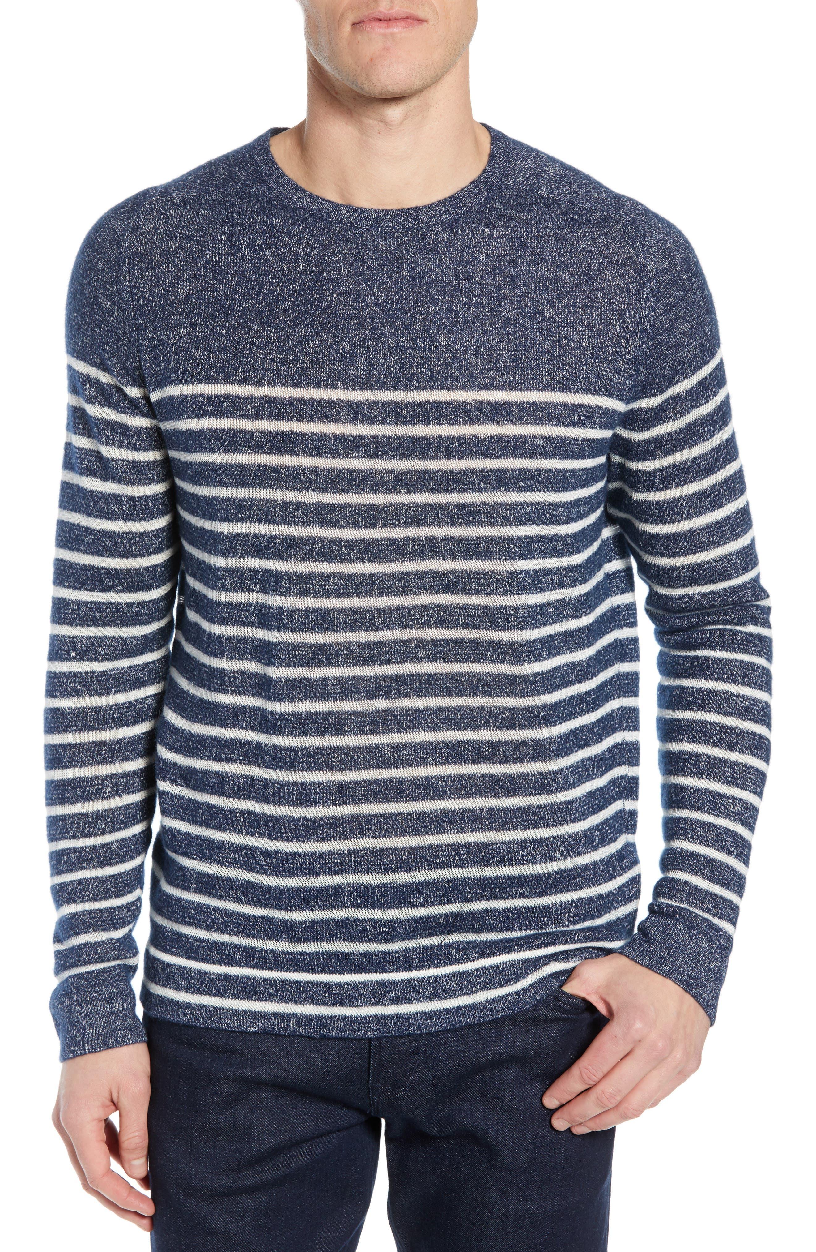 Nordstrom Signature Stripe Crewneck Cashmere & Linen Sweater, Blue