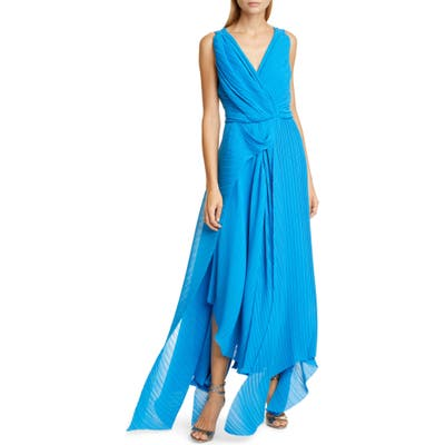 Preen By Thornton Bregazzi Kimber Pleat Georgette Gown, Blue