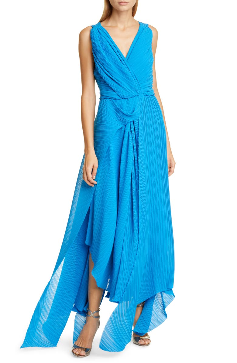PREEN BY THORNTON BREGAZZI Kimber Pleat Georgette Gown, Main, color, BLUE