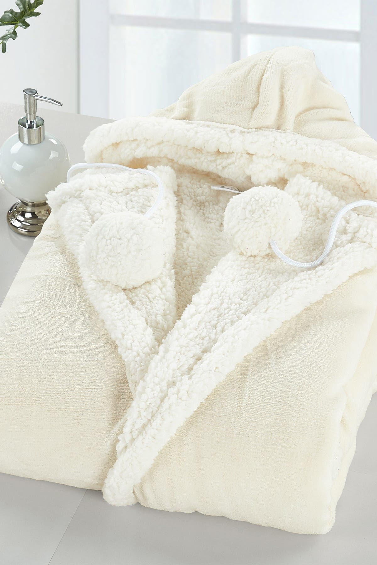 Image of Chic Home Bedding Yatco Faux Shearling Lined Snuggle Hoodie - Beige