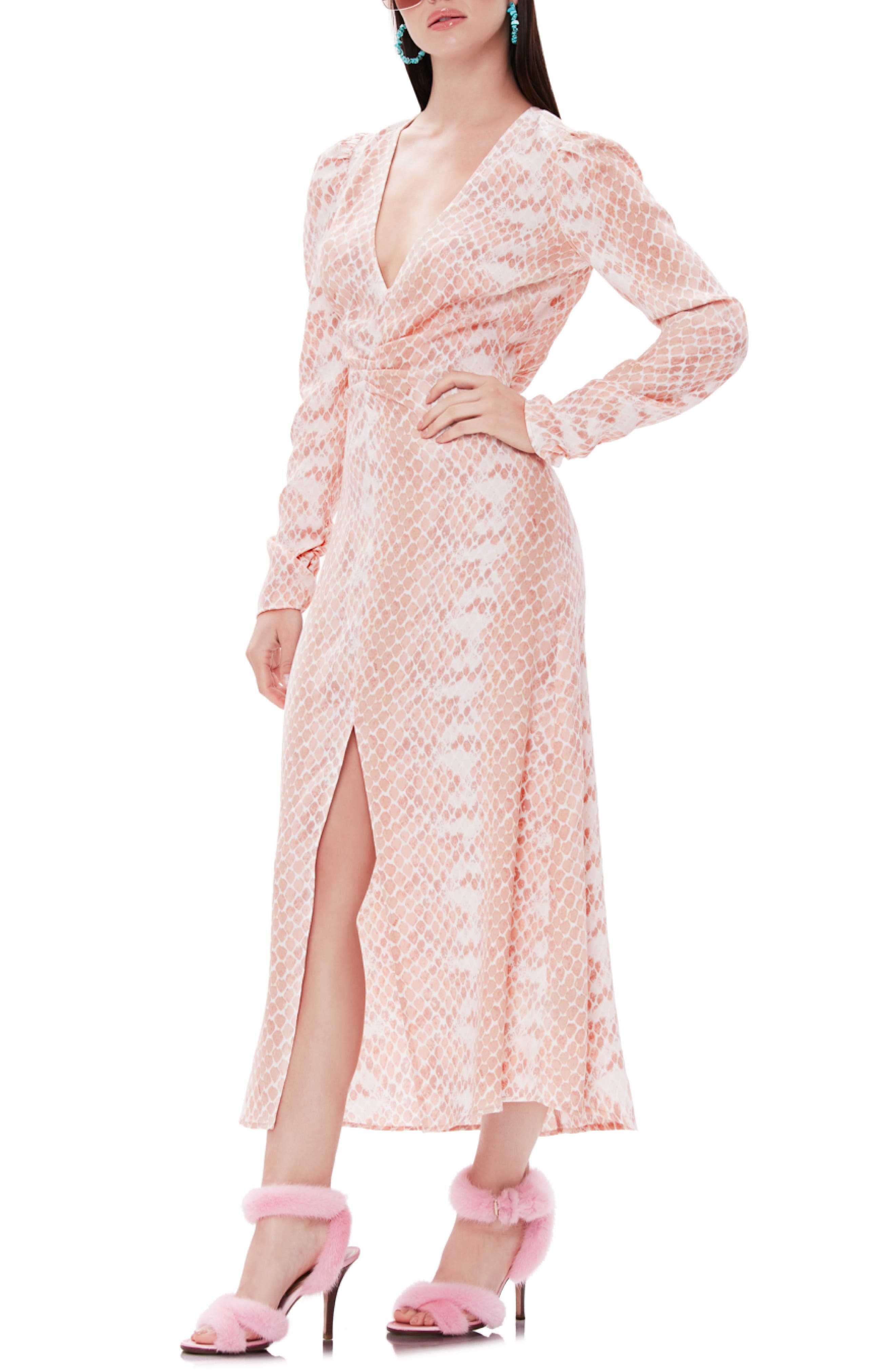 Afrm Madsen Ruched Long Sleeve Midi Dress, Pink