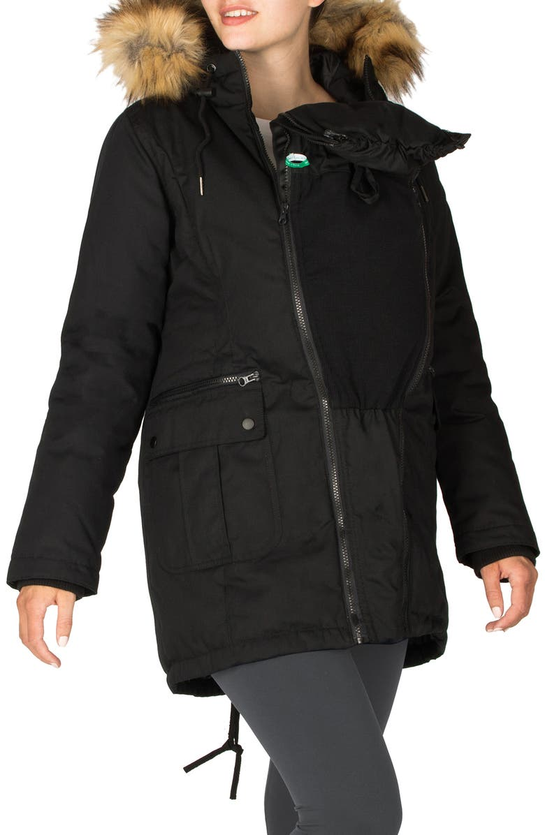 MODERN ETERNITY Convertible Down 3-in-1 Maternity Jacket, Main, color, BLACK