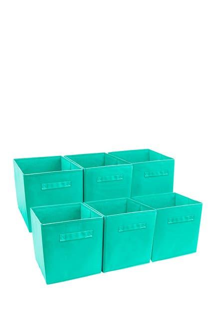 Image of Sorbus Foldable Storage Cube Basket Bin - Set of 6 - Teal