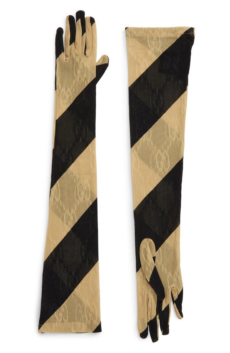 GUCCI Silene GG Lace Stripe Gloves, Main, color, 001