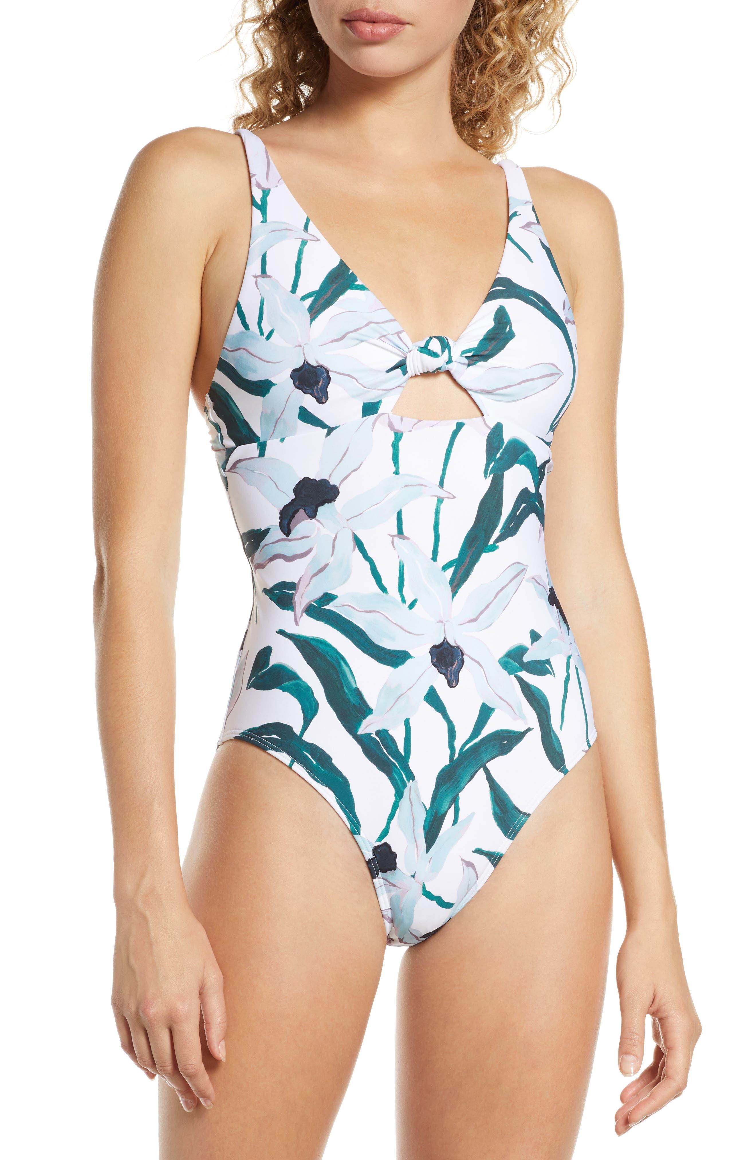 Tory Burch Palma Print One-Piece Swimsuit, White