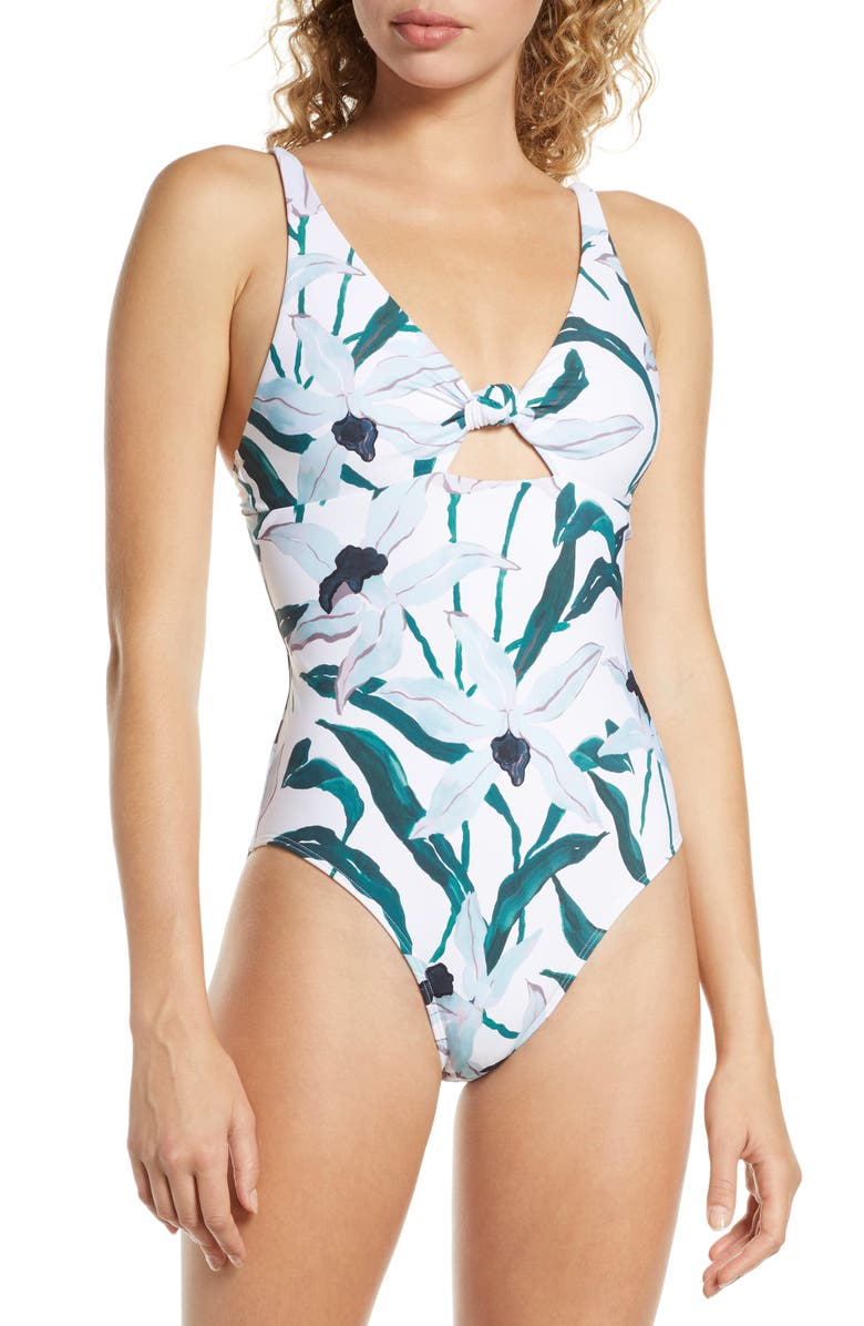 TORY BURCH Palma Print One-Piece Swimsuit, Main, color, DESERT BLOOM WHITE GROUND