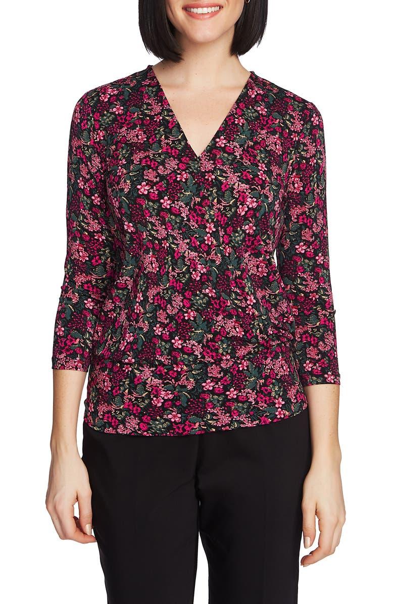 d46c433048d9 Floral Print Knit Faux Wrap Top, Main, color, RICH BLACK