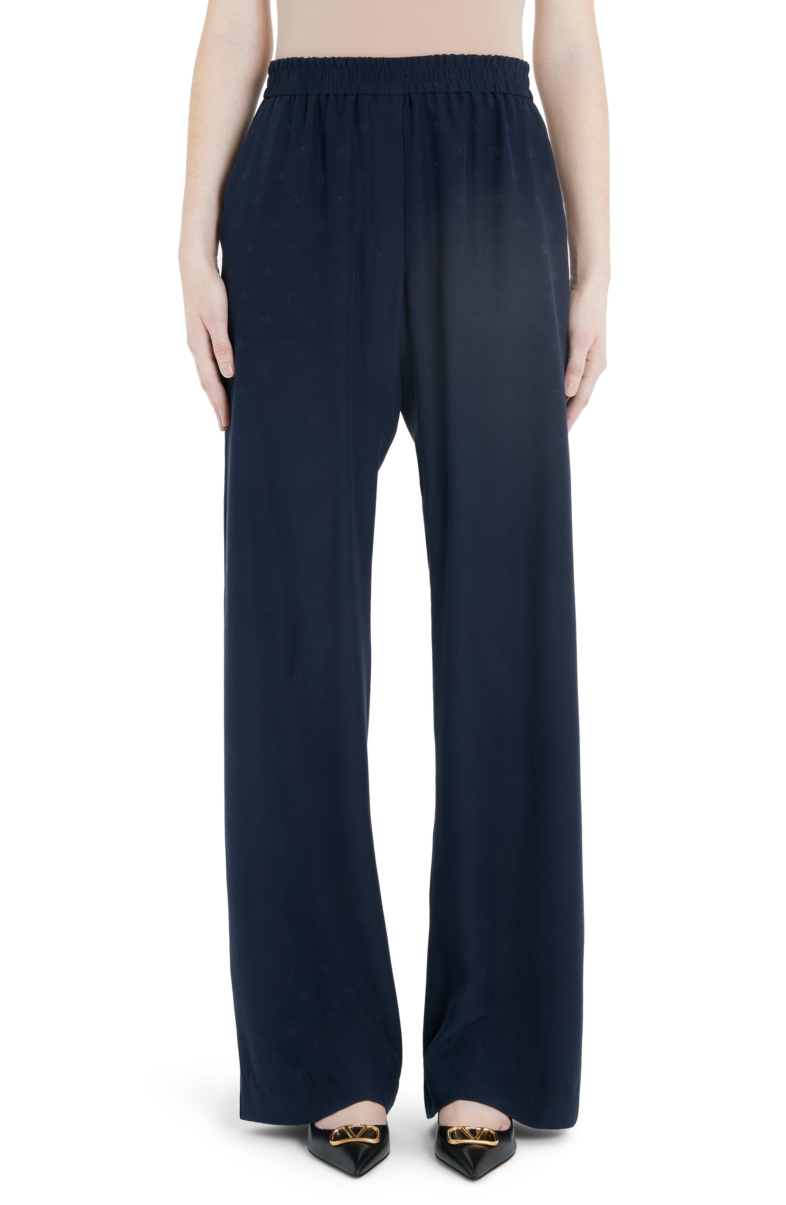 Valentino Pants Logo Jacquard Silk Satin Wide Leg Pants