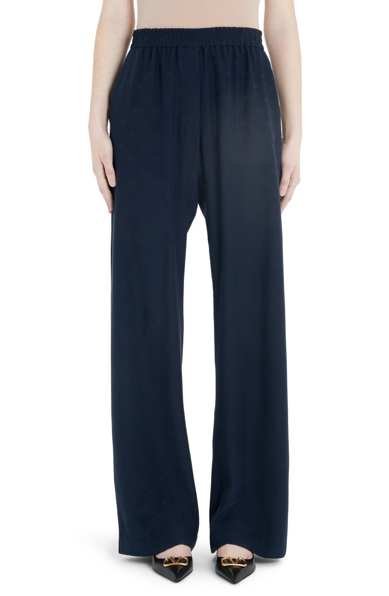 VALENTINO Logo Jacquard Silk Satin Wide Leg Pants, Main, color, 598-NAVY