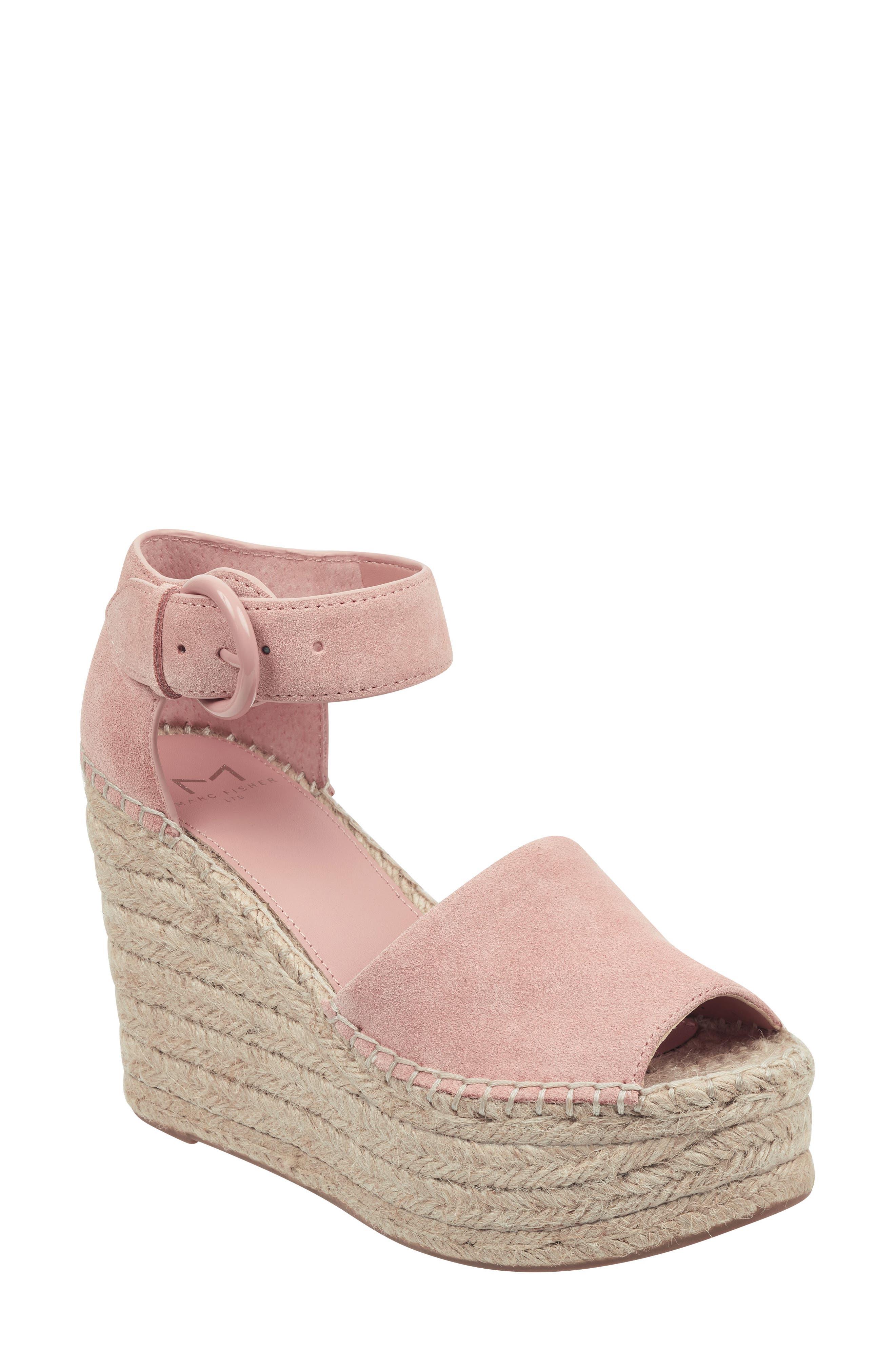 Marc Fisher Ltd Alida Espadrille Platform Wedge, Pink