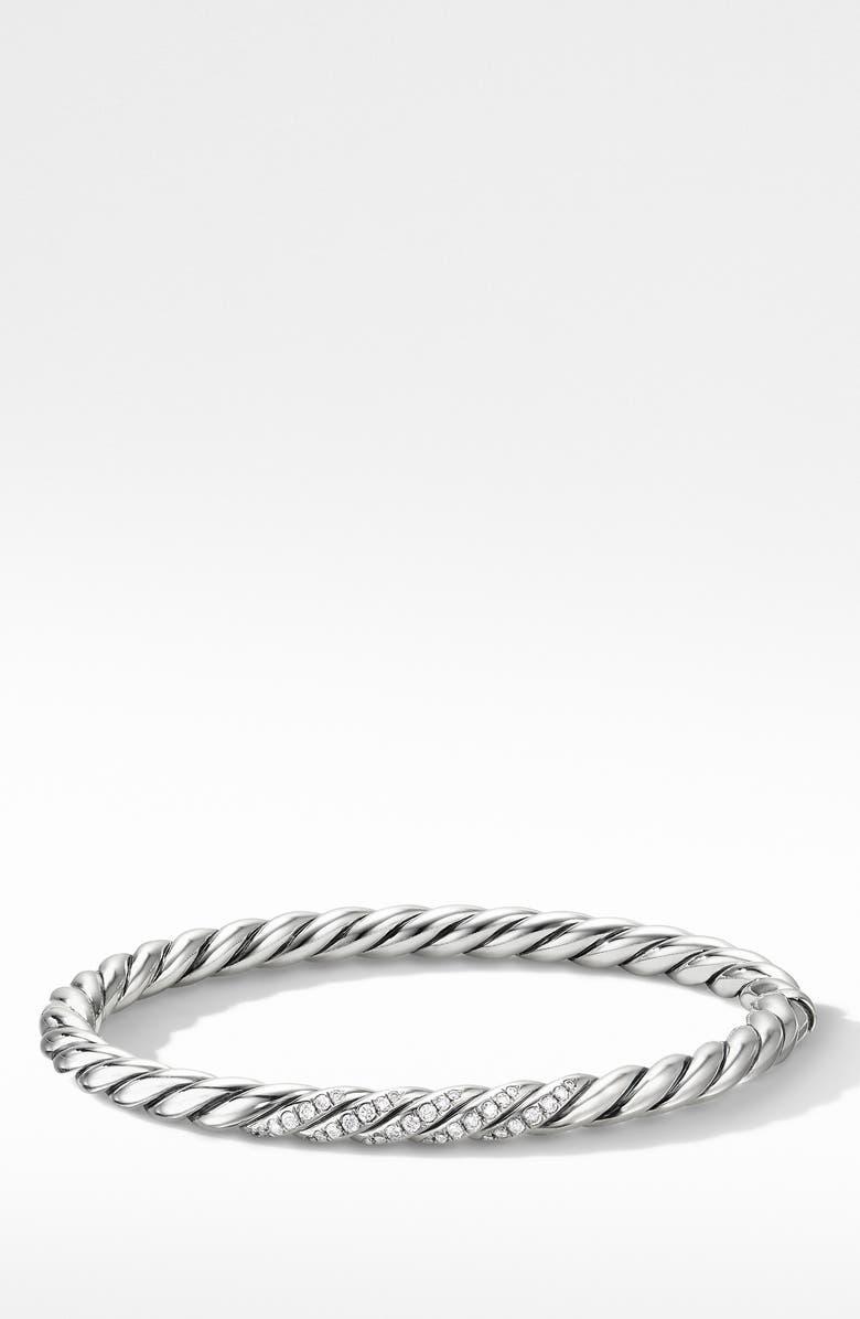 DAVID YURMAN Stax Cable Bracelet with Diamonds, Main, color, SILVER/ DIAMOND