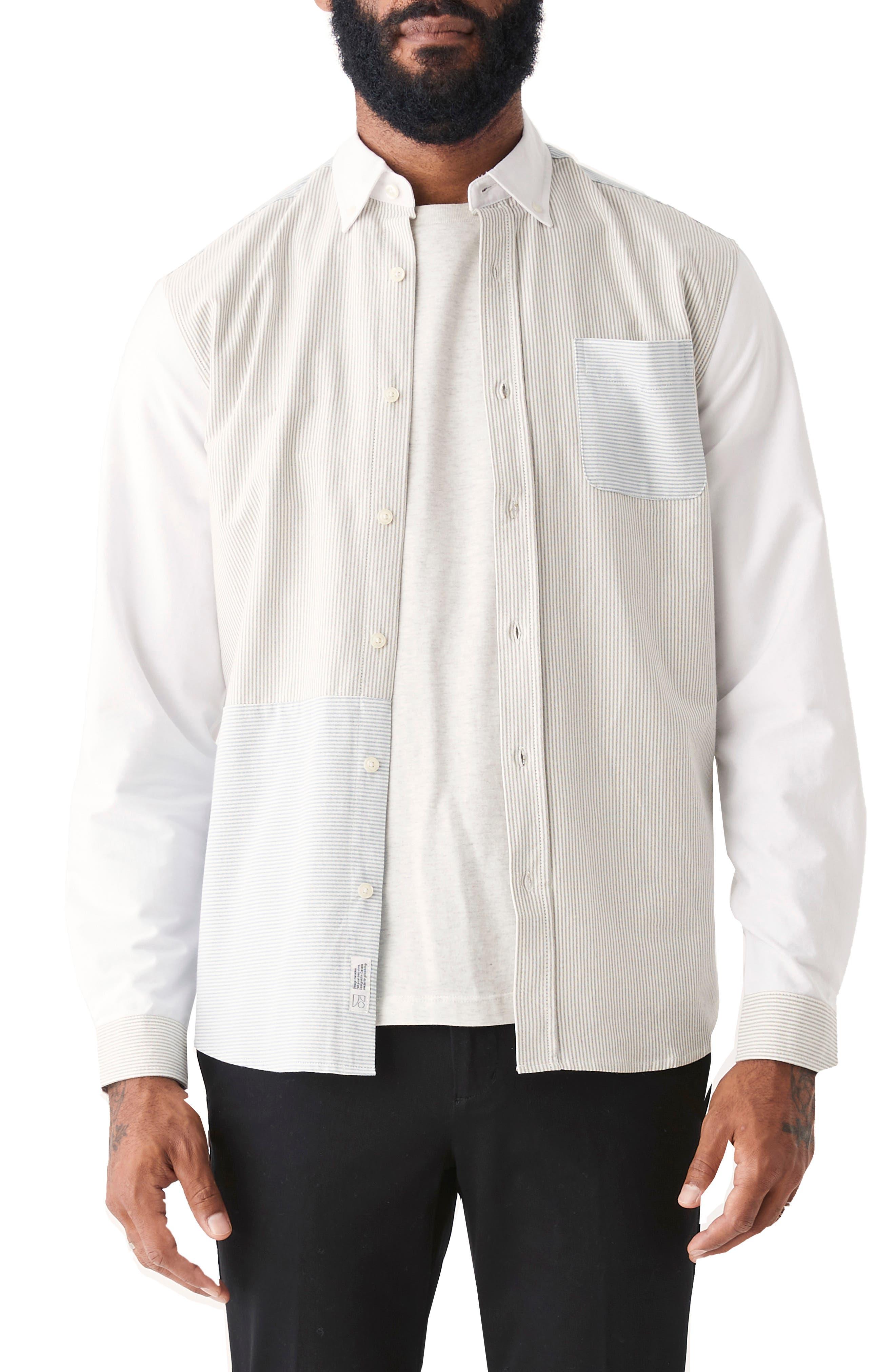 Jasper Patchwork Stripe Organic Cotton Oxford Button-Up Shirt