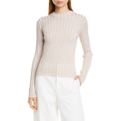 Vince Metallic Thread Ribbed Mock Neck Wool Blend Sweater, Ivory