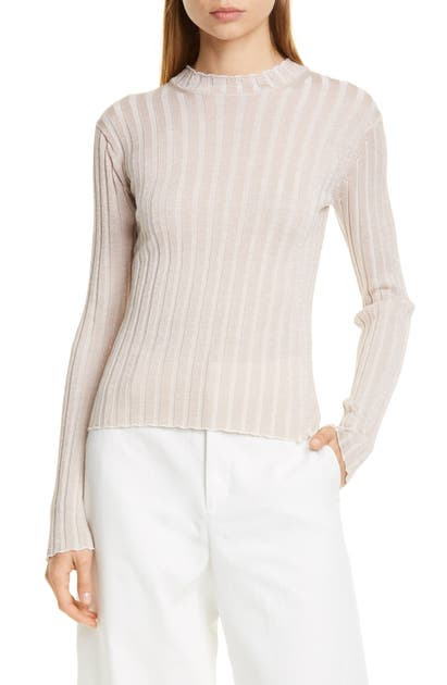 Vince Sweaters METALLIC THREAD RIBBED MOCK NECK WOOL BLEND SWEATER