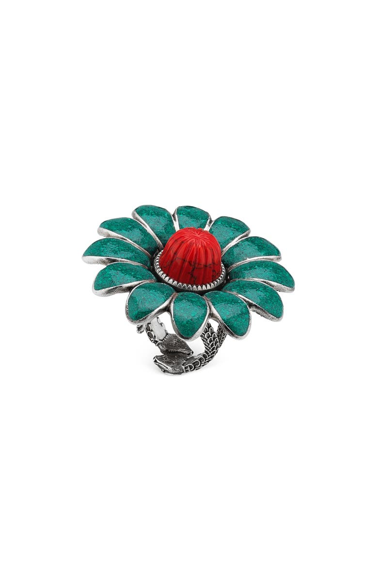 GUCCI GG Marmont Flower Ring, Main, color, STERLING SILVER/ TURQUOISE