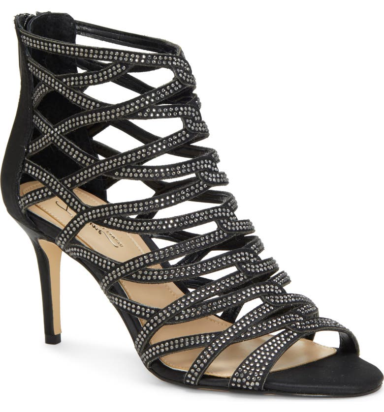 IMAGINE BY VINCE CAMUTO Imagine Vince Camuto Paven Crystal Cage Sandal, Main, color, BLACK FABRIC