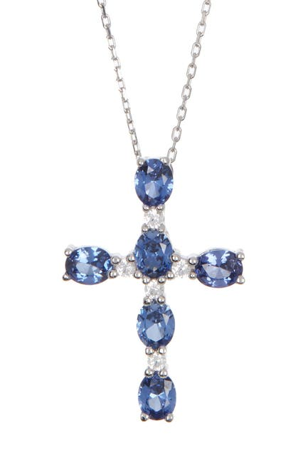 Image of Suzy Levian Sterling Silver Oval Blue Sapphire Cross Pendant Necklace
