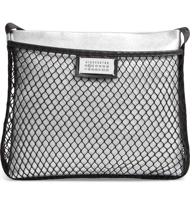 MAISON MARGIELA Mesh & Metallic Faux Leather Messenger Bag, Main, color, 040