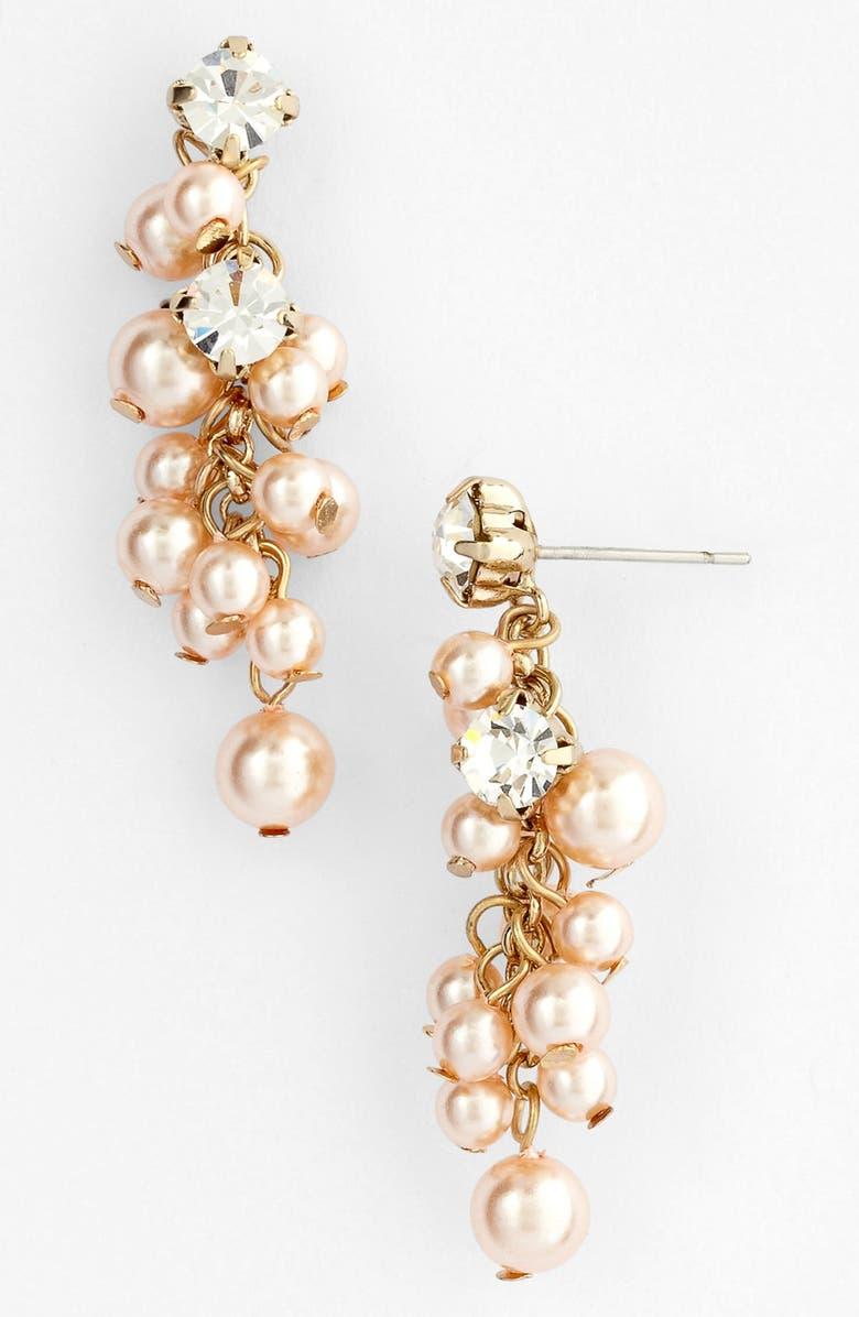 NINA 'Aisley' Faux Pearl Drop Earrings, Main, color, 680