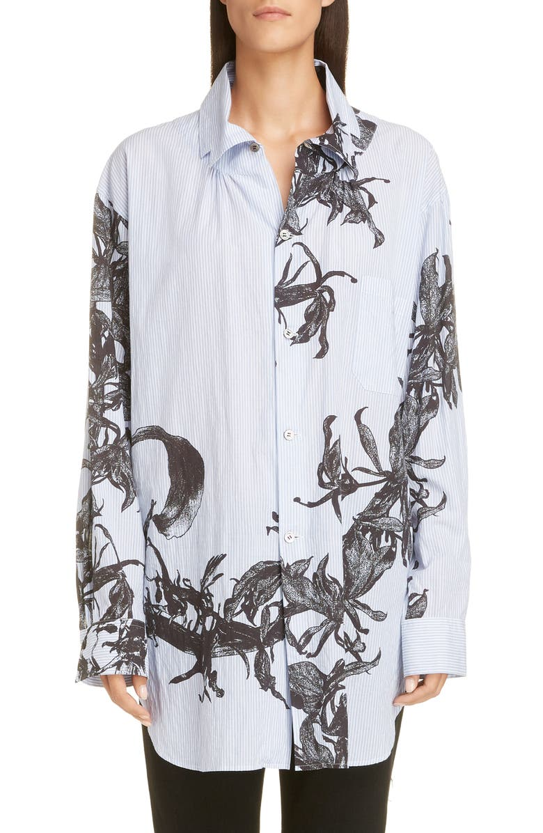 Y'S BY YOHJI YAMAMOTO Stripe & Floral Shirt, Main, color, 400