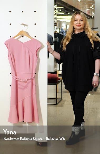 Ruffle Hem Belted Crepe Dress, sales video thumbnail