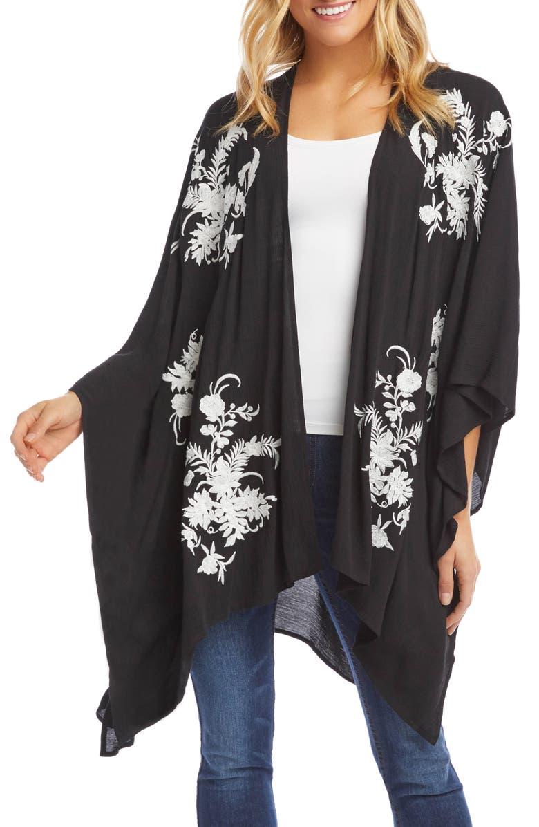 KAREN KANE Floral Embroidered Wrap Jacket, Main, color, BLACK WITH CREAM