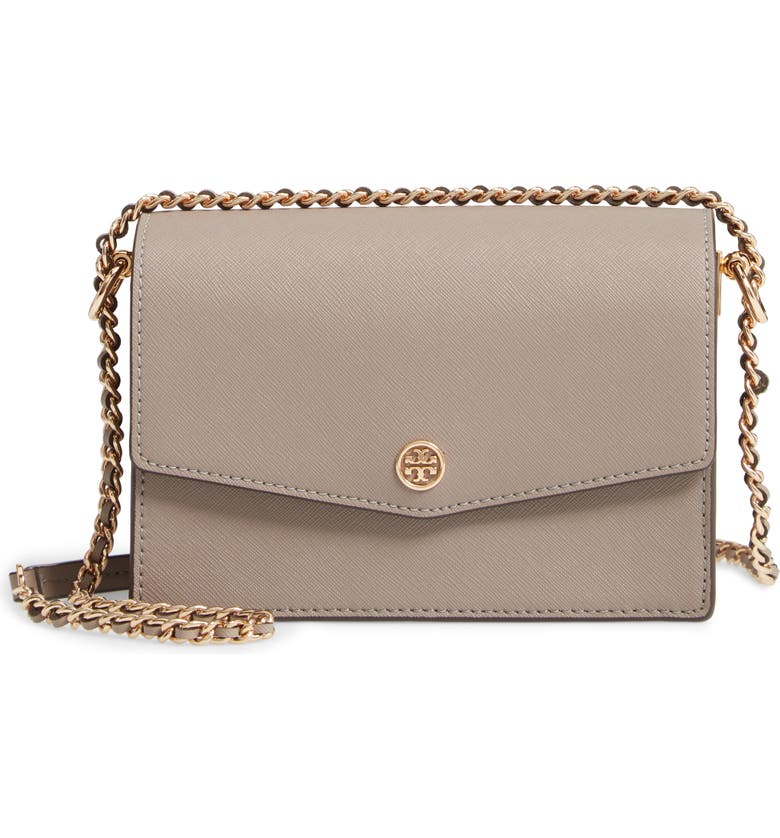 TORY BURCH Mini Robinson Convertible Leather Shoulder Bag, Main, color, 020