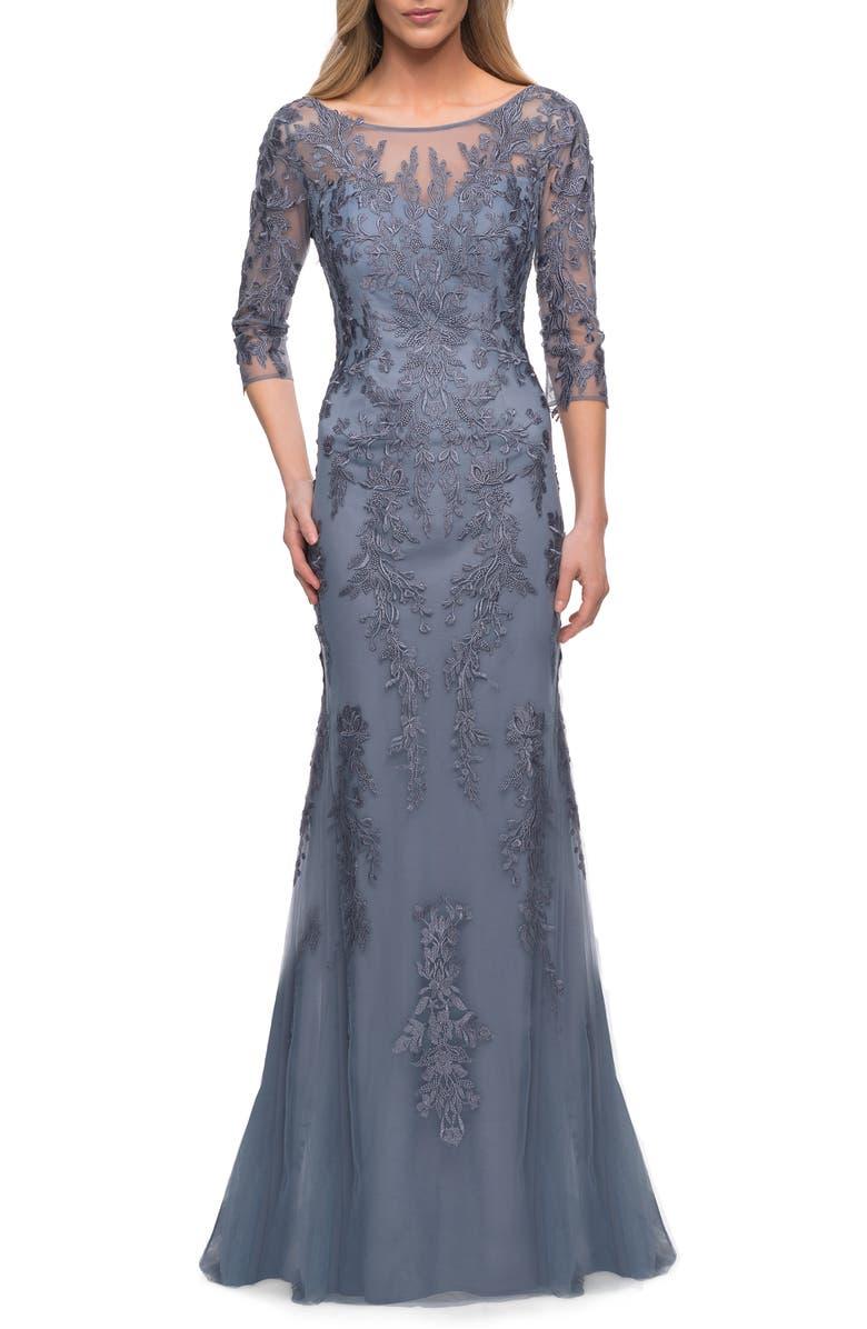LA FEMME Gorgeous Lace Sheath Gown, Main, color, SLATE
