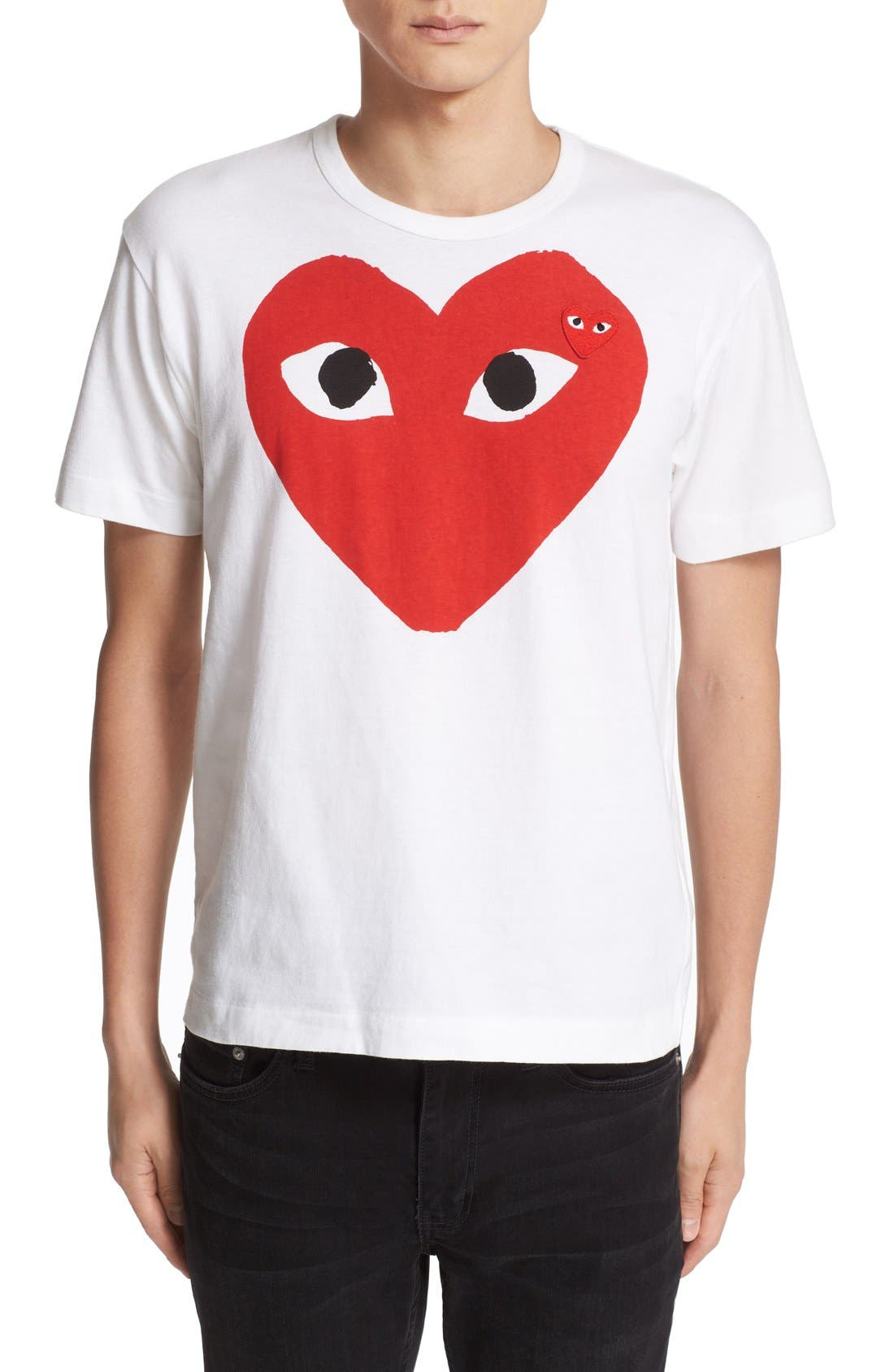 ,                             Heart Face Slim Fit Graphic T-Shirt,                             Main thumbnail 1, color,                             WHITE