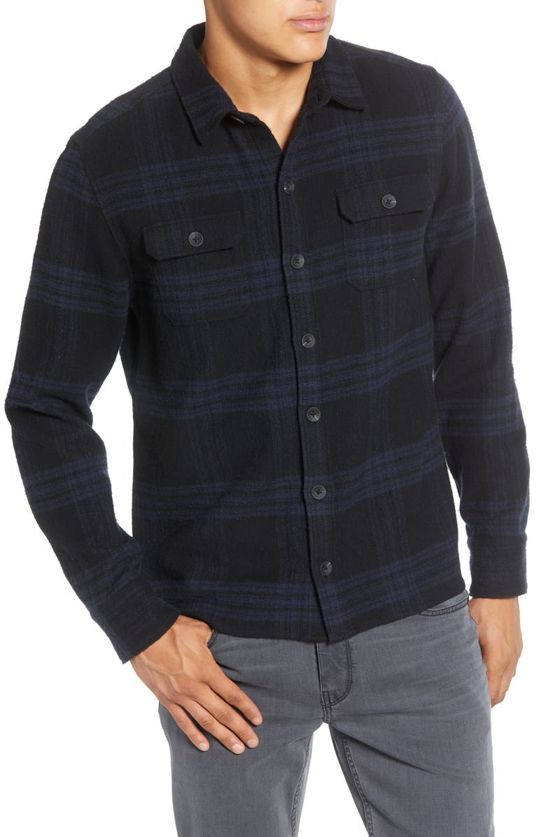 PAIGE Williams Regular Fit Plaid Button-Up Flannel Shirt Jacket, Main, color, BONDWAY BLACK