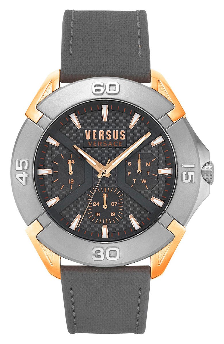 VERSUS VERSACE Rue Oberkampf Leather Strap Watch, 46mm, Main, color, GREY/ ROSE GOLD/ SILVER