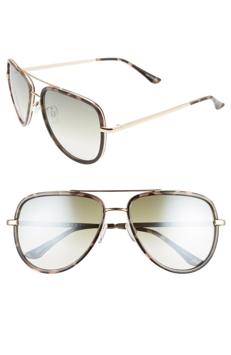 QUAY AUSTRALIA x JLO All in 56mm Aviator Sunglasses, Main, color, MILKY CAMO/ GREEN FADE