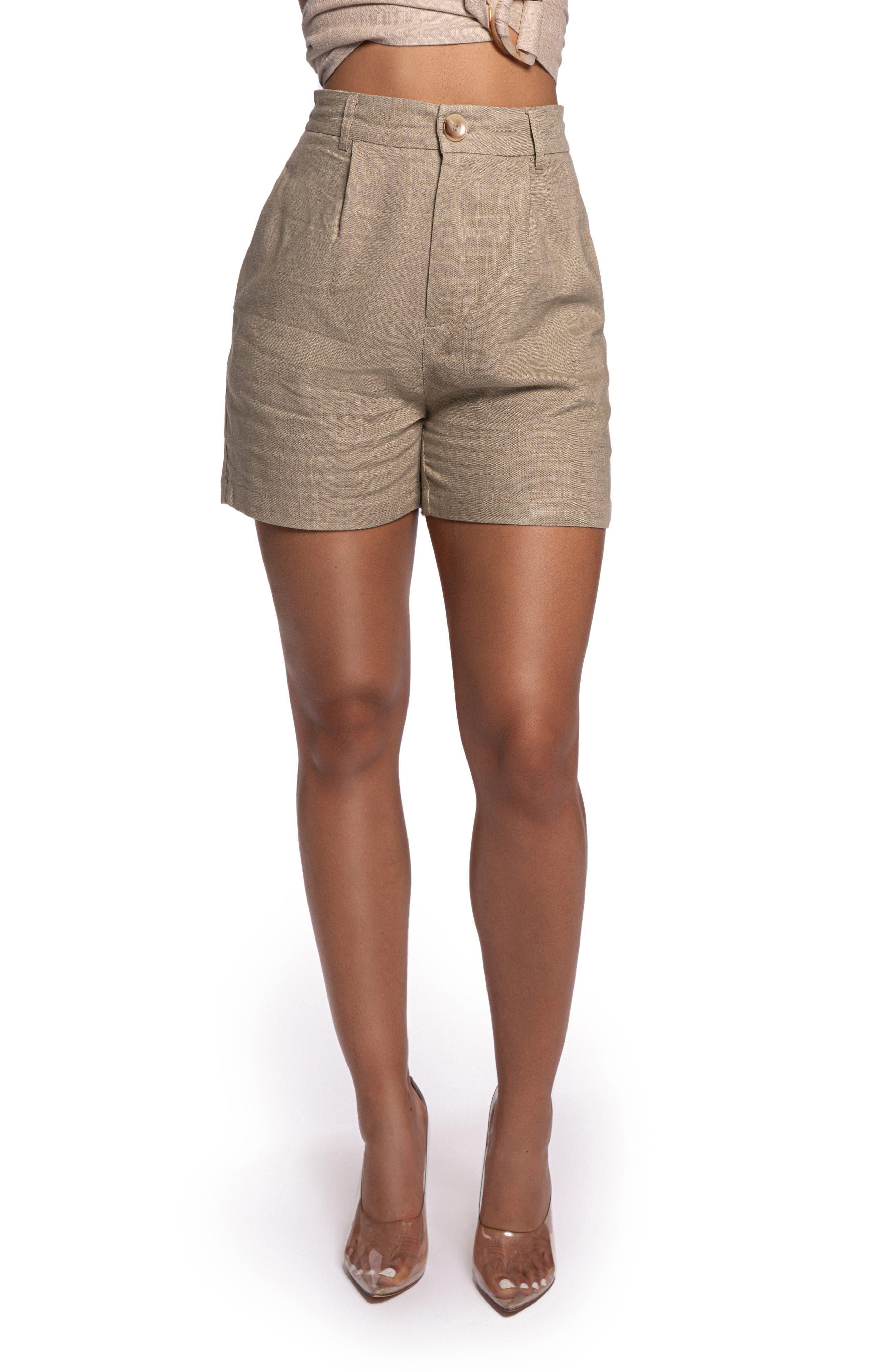 Draya High Waist Cotton & Linen Shorts