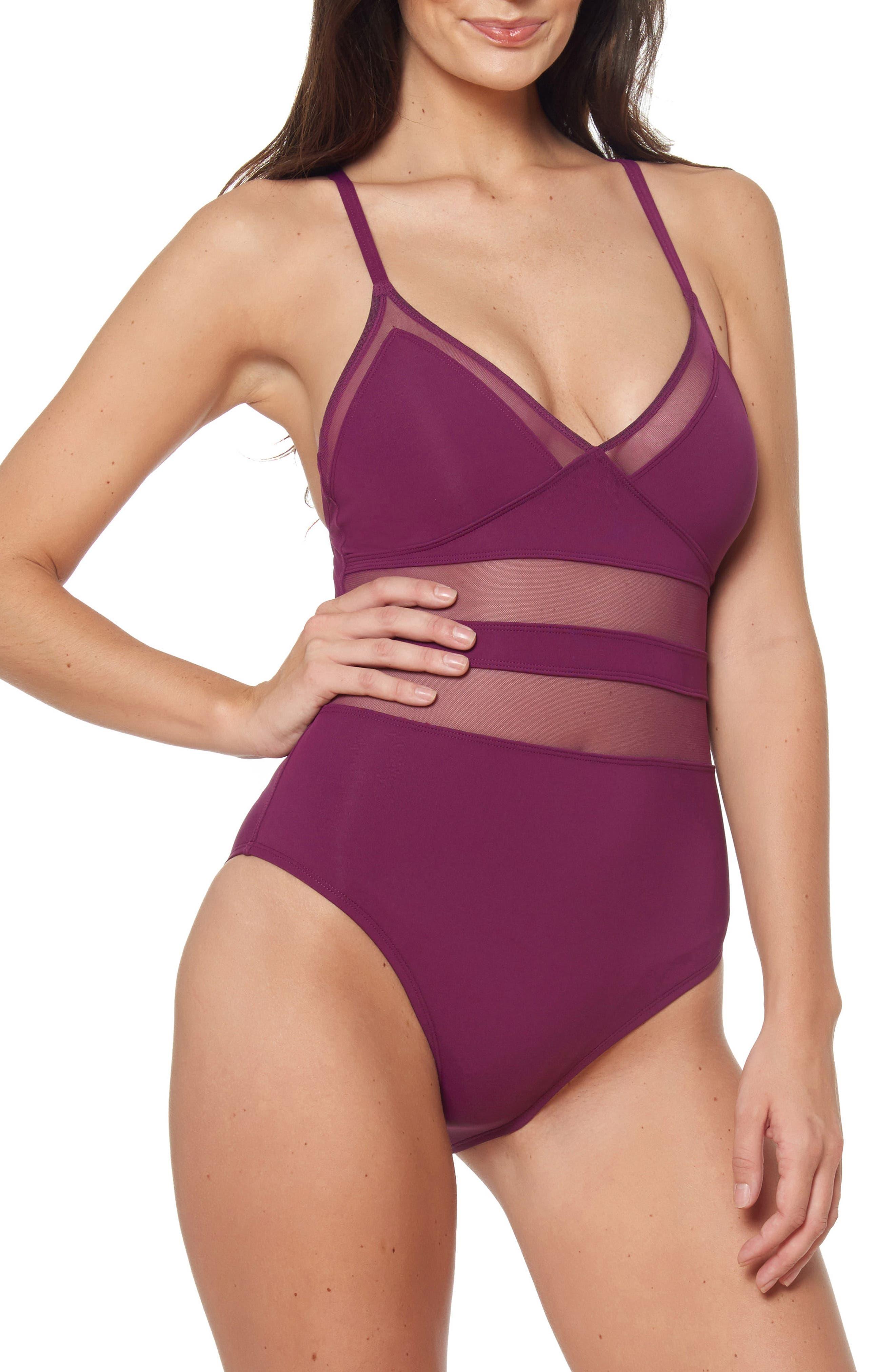 Bleu By Rod Beattie Mesh Inset One-Piece Swimsuit, Purple