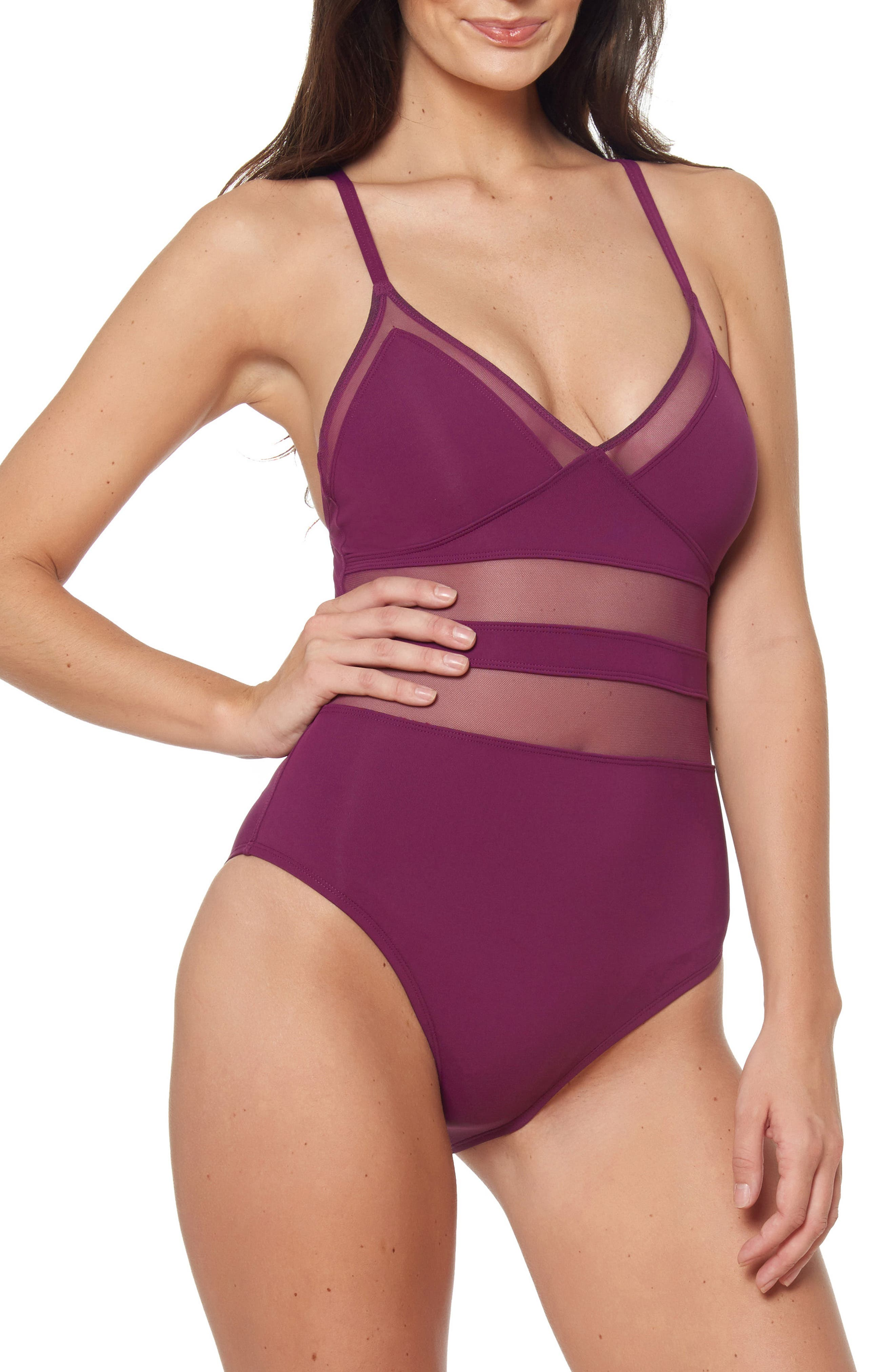 ,                             Mesh Inset One-Piece Swimsuit,                             Main thumbnail 1, color,                             CHERRY WINE