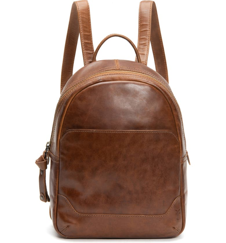 FRYE Medium Melissa Calfskin Leather Backpack, Main, color, COGNAC