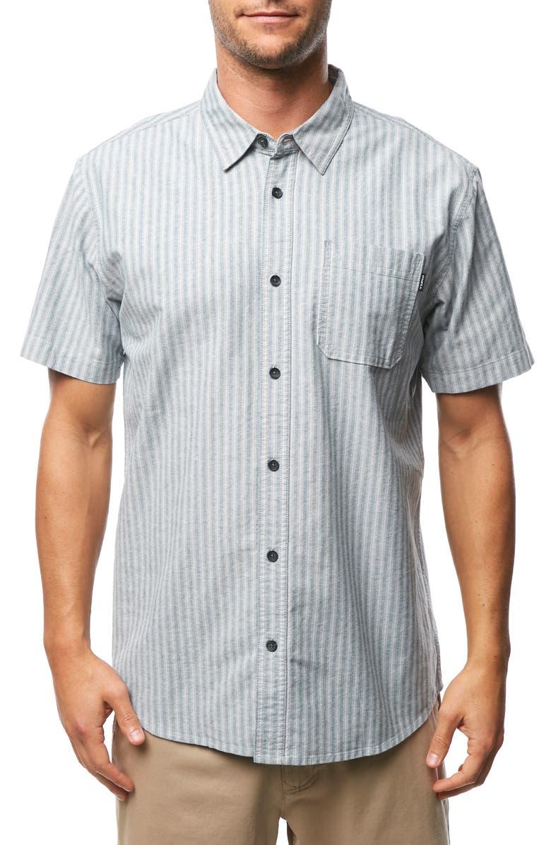 O'NEILL Theodore Stripe Short Sleeve Oxford Button Up Sport Shirt, Main, color, 039