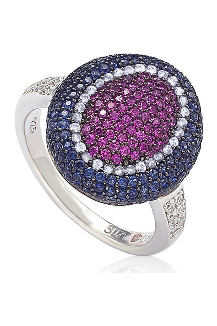 Image of Suzy Levian Sterling Silver CZ American-Inspired Multicolor Ring
