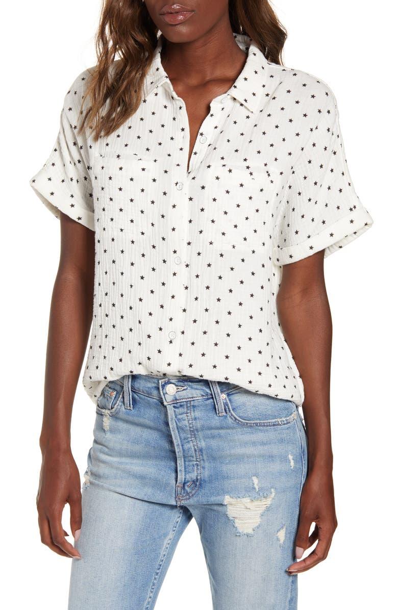 SPLENDID Backyard Star Textured Cotton Shirt, Main, color, BLACK/ WHITE STAR PRINT