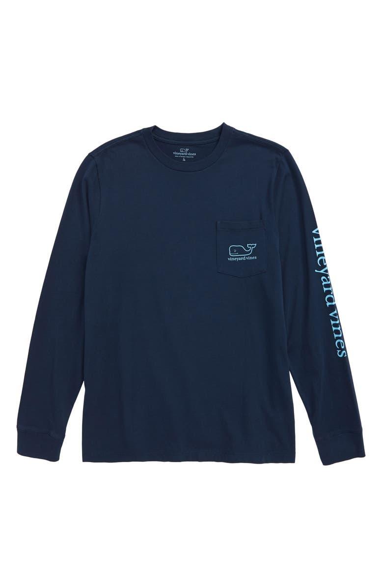 VINEYARD VINES Glow in the Dark Whale Long Sleeve Pocket T-Shirt, Main, color, BLUE BLAZER